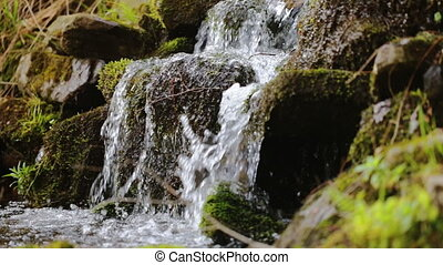 Pure fresh water waterfall in forest with stones and rocks...