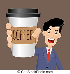 Businessman Holding A Cup of Coffee To Go - Vector stock of...