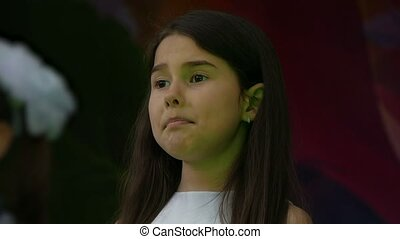 little girl European appearance sings slow motion video -...