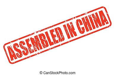 ASSEMBLED IN CHINA red stamp text on white