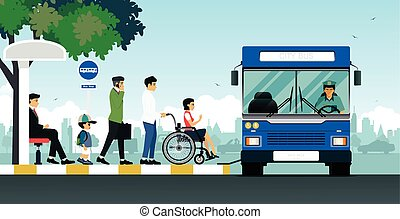 Disabled bus - Disabled people are using the bus for the...