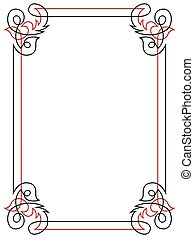 Floral black and red ornamental frame