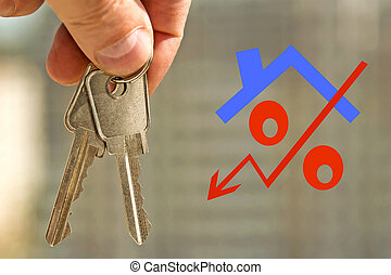 Red percent sign on the background of the keys to the house