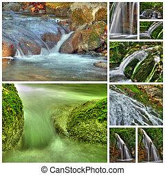 colagem, cachoeiras, nove, fotografias
