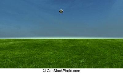 Soccerball bounces to cam slomo - C - Soccerball bounces on...