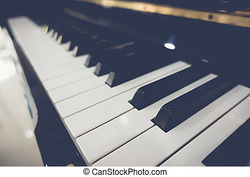 Close up of Piano keys with selective focus ,Filtered image...