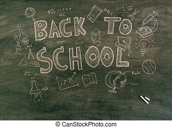 Freehand drawing Back to school on chalkboard Filtered image...