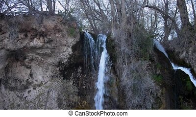 Rifle Falls Colorado slow pan down - Cascading triple...