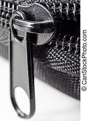 zip macro - black closed zip macro closeup