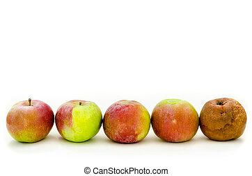 podrido, manzana,