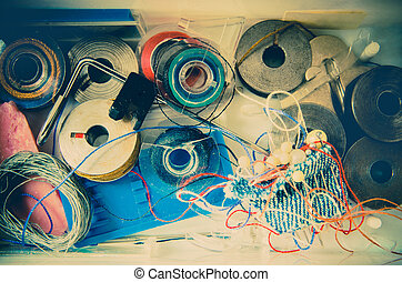 sewing supplies - a lot of sewing supplies closeup