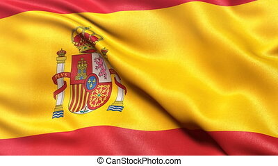 Spain flag seamless loop - Flag of Spain waving in the wind....