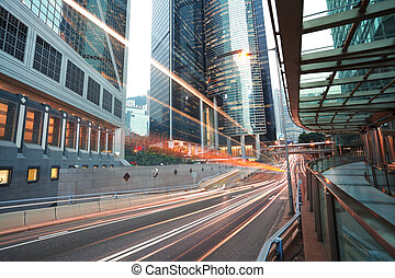 HongKong of road light trails on streetscape buildings in -...