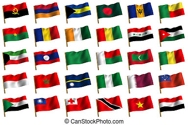 Collage from flags of the different countries of the world. icon. 3d