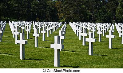 americano, cimitero, Normandia