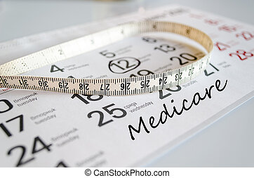 Medicare text concept over tape measure and calendar...