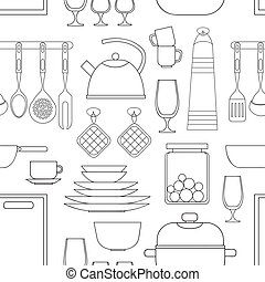 Cooking tools pattern Hand-drawn design elements Vector...