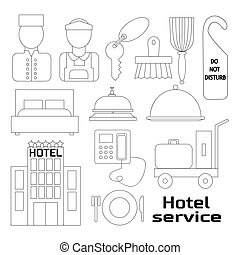 Hotel service icons set - Hand drawn Hotel service icons and...