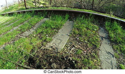 Railroad tracks on nature - Early spring chamber on railway...
