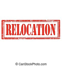 Relocation-stamp - Grunge rubber stamp with text...