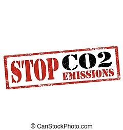 Stop CO2 Emissions - Grunge rubber stamp with text Stop CO2...