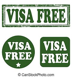Visa Free-stamps - Set of stamps with text Visa Free,vector...