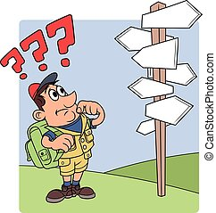 Traveler is confused by road sign 2 - Illustration of the...