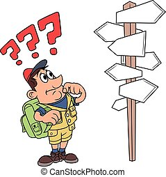 Traveler is confused by road sign 4 - Illustration of the...
