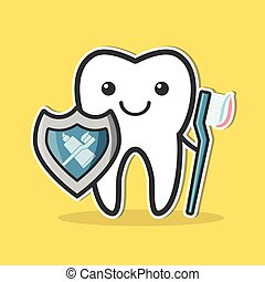 Tooth with shield and toothbrush.