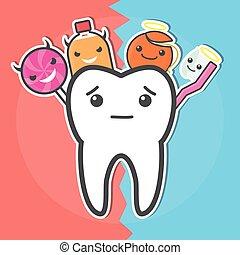 Sweets versus hygiene dental concept.
