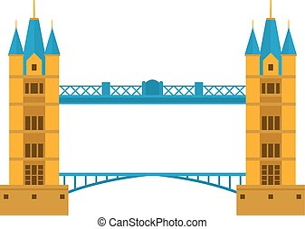 River bridge vector illustration - Concrete river bridge...
