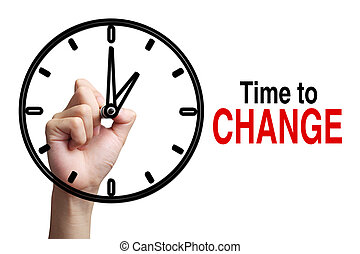 Time To Change Concept - Hand is drawing a clock with text...