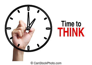 Time To Think Concept - Hand is drawing a clock with text...
