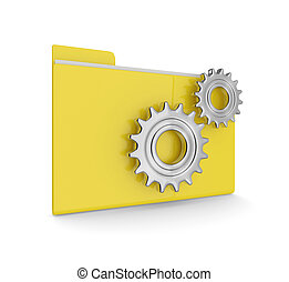 data folder with gears isolated on white background - 3d...