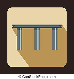 Narrow bridge icon, flat style - Narrow bridge icon in flat...