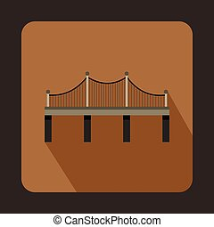 Iron bridge icon, flat style - Iron bridge icon in flat...