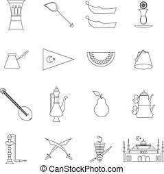 Turkey travel icons set in thin line style isolated on white...