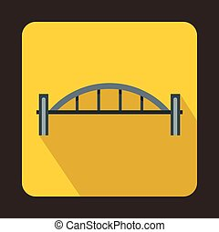 Bridge with round pillars icon, flat style - Bridge with...