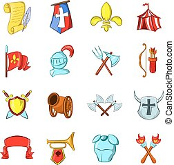 The middle ages icons set isolated on white background