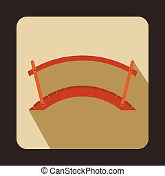 Wooden bridge icon, flat style - Wooden bridge icon in flat...