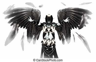 Fallen angel - illustration of fallen angel character