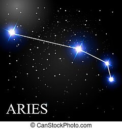Aries Zodiac Sign with Beautiful Bright Stars on the...