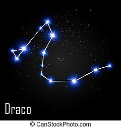 Draco Constellation with Beautiful Bright Stars on the...