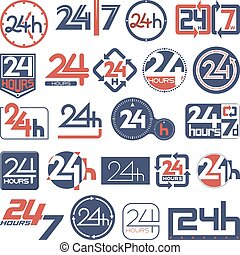 Twenty four hours and seven days in week icons set