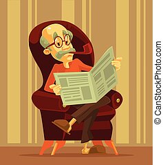 Old man reading newspaper. Grandfather smoking. Vector flat...