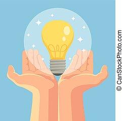 Hand holding light bulb Good idea Vector flat cartoon...