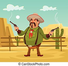 Mexican robber. Whild west. Vector flat cartoon...