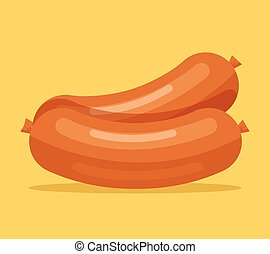 Salami sausage Brown sausage flat icon illustration
