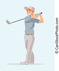 Golf player Retro isolated golf player Man play golf Vector...