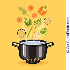 Boiled vegetables. Boiled water in pan. Vegetables in hot...